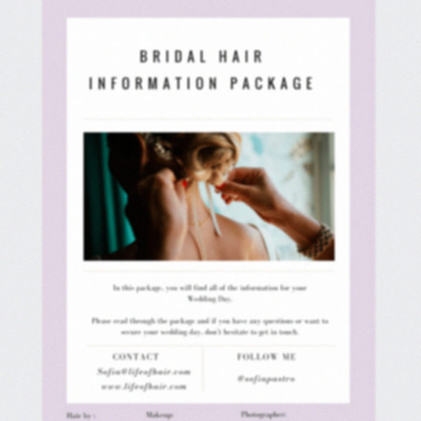 Bridal hair package template